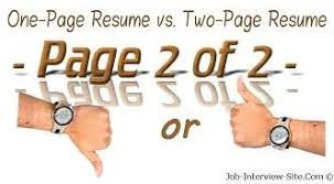 One Page Resume Or Two Page Resume Format What Do The Experts Say