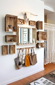 Rustic Walnut Stained Wine Crate Storage on Casters - www.thediyvillage.com