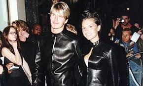 david beckham cringes at those matching black leather versace outfits daily mail