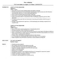 Resume Example For Jobs Assistant Housekeeper Resume Samples Velvet Jobs Housekeeping 88