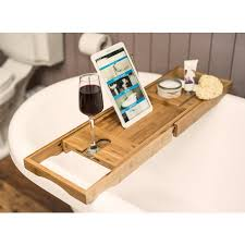 bamboo bath caddy with book stand wine glass holder