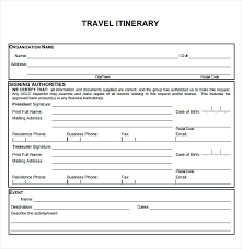 Sample Itinerary Forms Business Trip Schedule Template Others Blank And Printable Travel