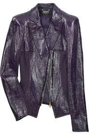 versace purple crinkled leather jacket