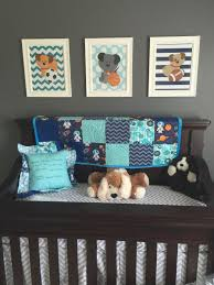 dogs sport wall art baby boy nursery puppy sports room dog bedroom theme chevron pattern set