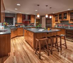 Oak Floors In Kitchen Dark Oak Floors Kitchen Craftsman With Wood Cabinets Metal Pot