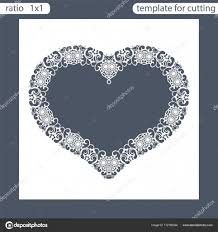laser cut wedding invitation card template cut out the paper card with lace pattern greeting card template for cutting plotter frame in the shape of a