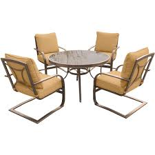 Aluminum Outdoor Dining Table Hanover 5 Piece Aluminum Outdoor Dining Set With Round Glass Top