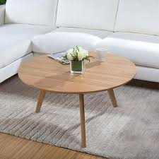 good wood coffee table minimalist small apartment white oak round whitewashed reclaimed