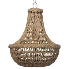 paris coastal beach brown jute chandelier