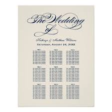 Wedding Seating Chart Midnight Blue Calligraphy Zazzle Com