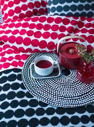 räsymatto double duvet cover red white