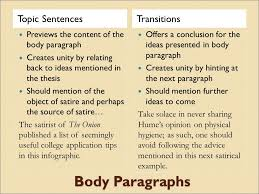 informational satire essay ppt video online 3 body paragraphs topic sentences transitions
