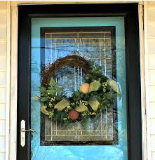 wreath on glass storm door