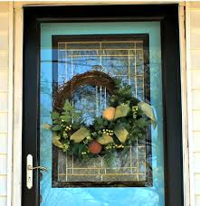 wreath on glass storm door