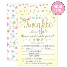 Gender Reveal Invitation Templates Twinkle Twinkle Little Star Gender Reveal Invitations Gender Reveal Party Baby Shower Invites 20 Fill In Style With Envelopes