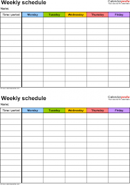 Free Weekly Schedule Templates For Pdf 18 Middle School Lesson