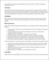 Resume Templates: Non Profit Administrative Assistant