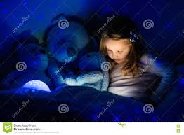 Night Stars Bedroom Lamp Little Girl In Bed With Night Lamp Stock Photo Image 77602307