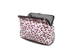 tiny cherries clutch purse rockabilly pin up 1950s makeup bag handmade kiss lock clasp cherry