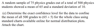 Standard Deviation Chart Online Solved A Random Sample Of 75 Physics Grades Out Of A Tota