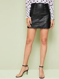 glamorous a line plain sheath high waist black mini length on front faux leather skirt with lining