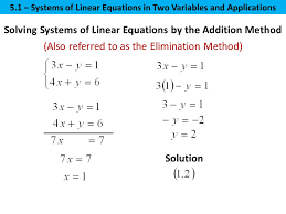 4 solution solving systems of linear equations by the addition method also referred to as the elimination method 5 1 systems of linear equations in two