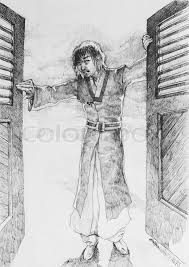 fantasy drawing art man in a historic suit open the doors stock photo colourbox