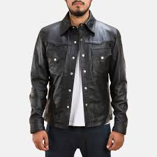 mens ranchson black leather shirt 1