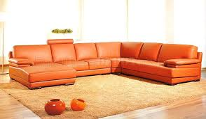 modern sectional sofas. 2227 Orange Leather/Leather Match Modern Sectional Sofa By VIG Sofas