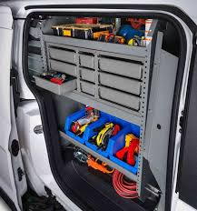 2018 transit connect upfitted shelving for tools and equipment
