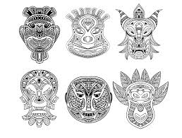 Small Picture 6 african masks Africa Coloring pages for adults JustColor