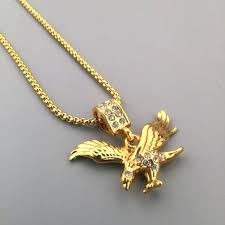 eagle charm iced out new golden rhinestone pendant boxing chain flying bird necklace hip hop style eagle charm flying pendant
