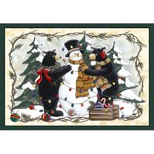 custom printed rugs home accents bears and snowman area rug