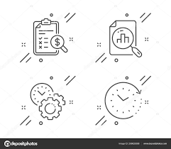 Time Management Analytics Graph And Accounting Report Icons