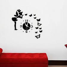 erfly fairy pattern diy acrylic wall stickers w clock black