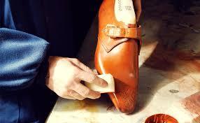 brushing leather shoes