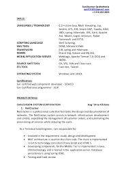 Java Sample Resume Sample Resume For Java Developer Year