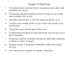 chapter 3 objectives the fastest known doubling time for a bacterium and under what conditions this