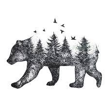 водонепроницаемая временная татуировка Siberia лес медведь дерево