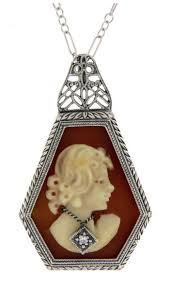 antique style jewelry and gifts art deco style hand carved italian cameo diamond pendant sterling silver fp 536 sh