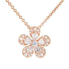view diamond pendant in a flower design set in 18k rose gold