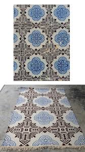 design your own rug lisbon blue black tiles flatweave indoor outdoor all weather rug recycled plastic