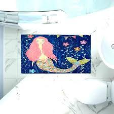 mermaid bathroom rugs rug s pink artistic decorative bath little