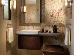serene small bathroom with mosaic tile wall