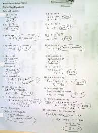 multi step equations worksheet answers algebra 1 worksheets solving equations image solving two step equations