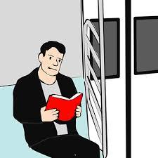 guy reading book animation