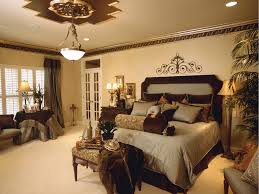 warm master bedroom. Warm Master Bedroom Idea With Neutral Color Scheme And Classic Pendant Lamp Also Upholstered King Headboard