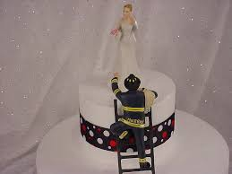 Personalized Custom Fireman Groom With Victorious Bride Firefighter