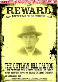 Old West Wanted Poster Outlaw Dalton Doolin Ringo Bank Train