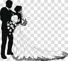 Free Download Black And White Wedding Couple Illustration Wedding